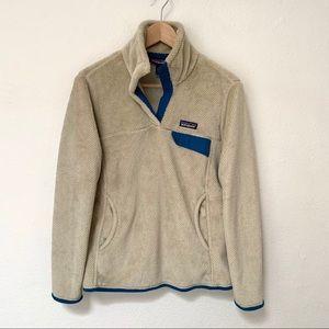 Patagonia Fleece Pullover Tan Navy Trim Medium